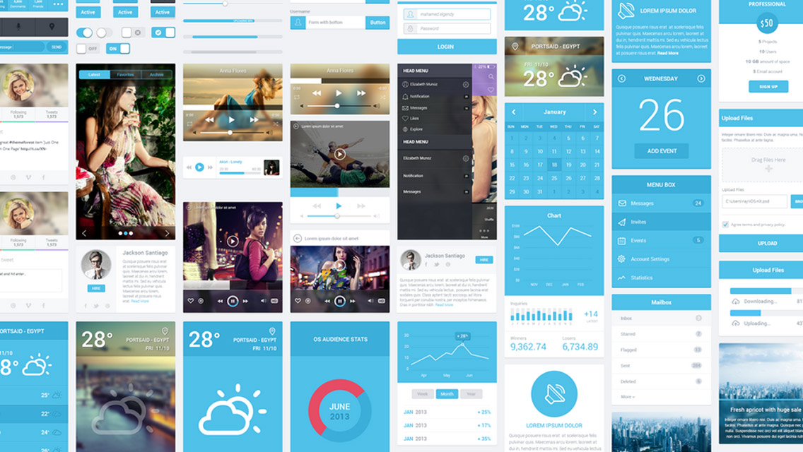 Flatastic Mobile UI Elements Kit
